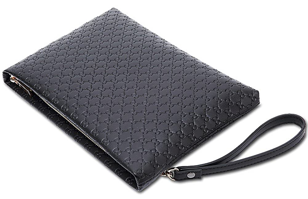 New Men Black Clutch Bag Large Capacity Business Handbag Microfiber Leather Soft