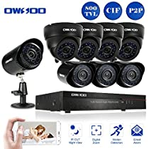 OWSOO 16CH CIF CCTV DVR Security System with 4x 800TVL Indoor Dome Camera & 4x 800TVL Outdoor Weatherproof Bullet Camera, Support IR-CUT Filter Infrared Night Vision Plug and Play