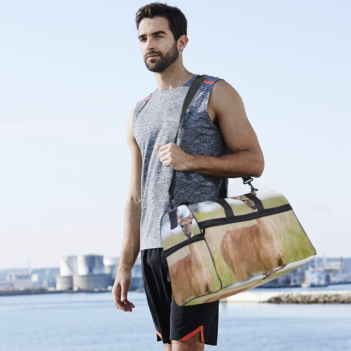MUOOUM Funny Animal Roe Deer Large Duffle Bags Sports Gym Bag with Shoes Compartment for Men and Women