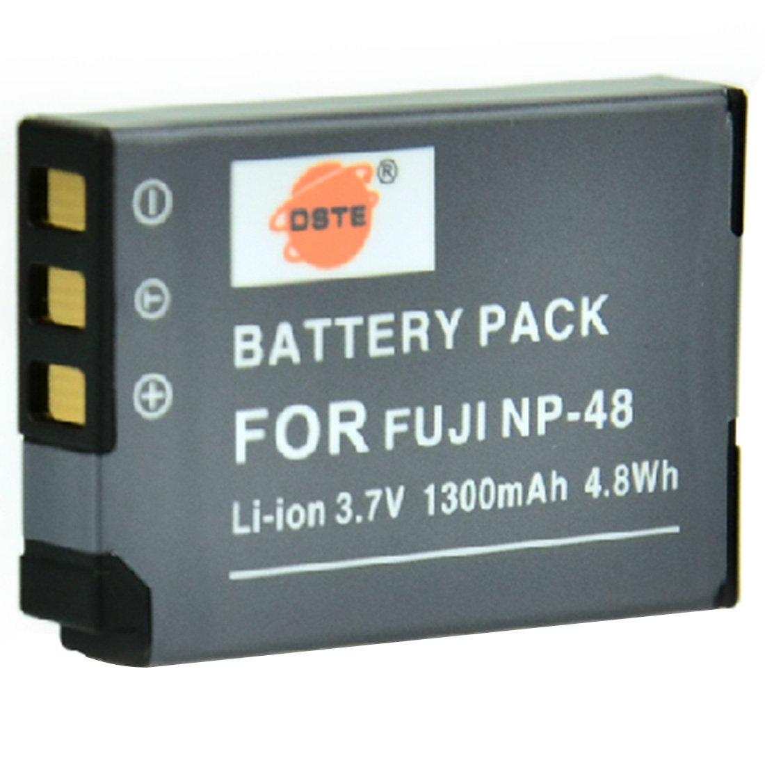 DSTE 2-pacco Ricambio Batteria DC30E Caricabatteria per Fujifilm Fuji NP-48 XQ1 XQ2