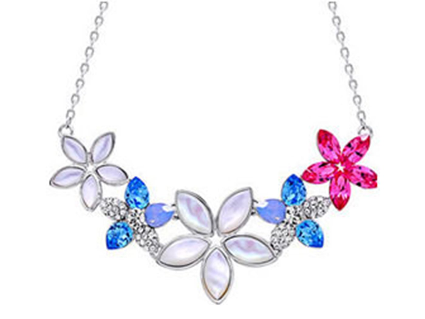Alilang Swarovski Crystal Rhinestone Tropical Hibiscus Flower Lei Crest Collar Necklace