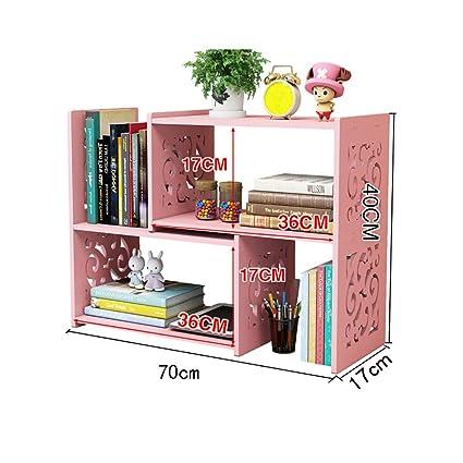 WERTF Small Bookcase Simple Student Desk Storage Rack Desktop Bookshelf Mini Color