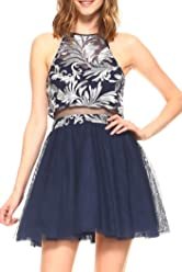 cc188a4805 Teeze Me Juniors Halter Embroidered Mesh Popover Top Illusion Waist Party  Dress