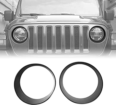ICarszone Black Front Headlight Trim Cover Bezels for Jeep Wrangler JL JLU /& Unlimited Accessories 2018-2019 Pair
