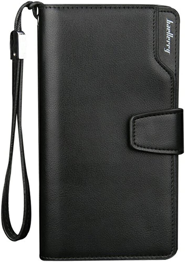 Fashion Design Leather Mens Long Wallet with Organizer Cases