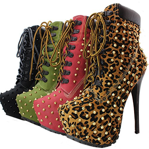 platform Leopard 12 Women's studded Breckelle's booties lace BLAZER up Premium ankle stylish xU0PFwBS1q