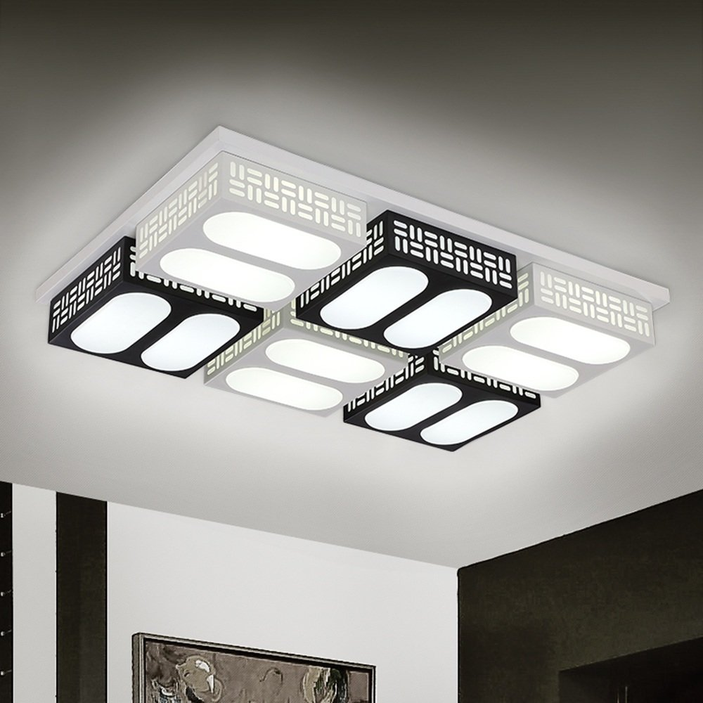 Ceiling lamps four head six head black and white classic