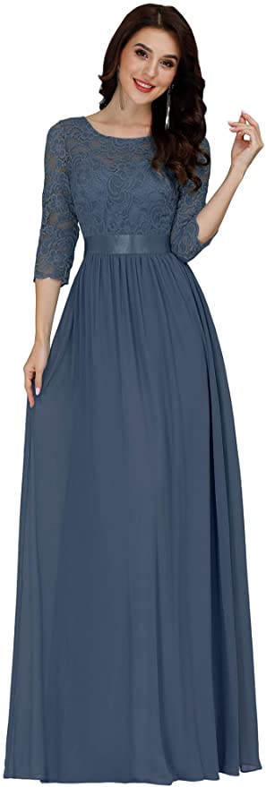1940s Dress Styles Ever-Pretty Women Elegant 3/4 Sleeve Empire Waist Maxi Bridesmaid Dresses 07412 $56.99 AT vintagedancer.com