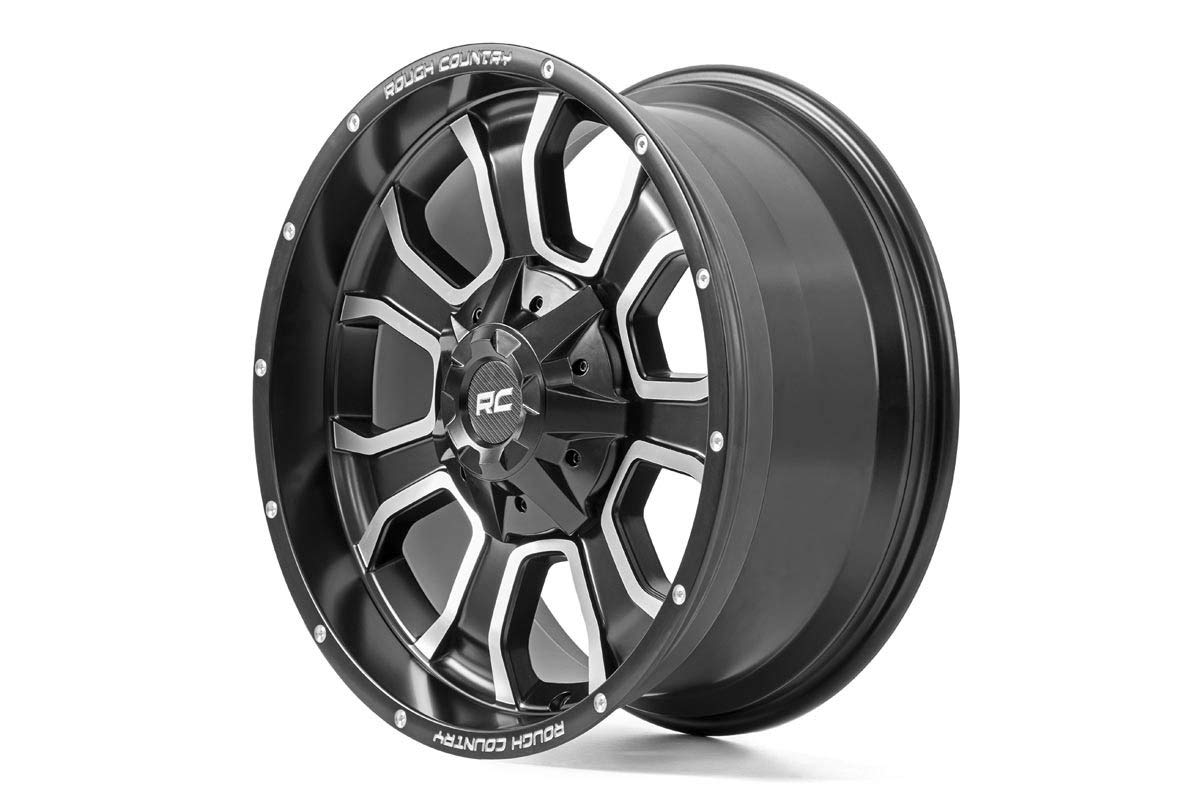 Rough Country Matte Black w Milled Aluminum Accents One-Piece Series 93 Wheel 20x10 6x135 93201003 One-Piece Series 93