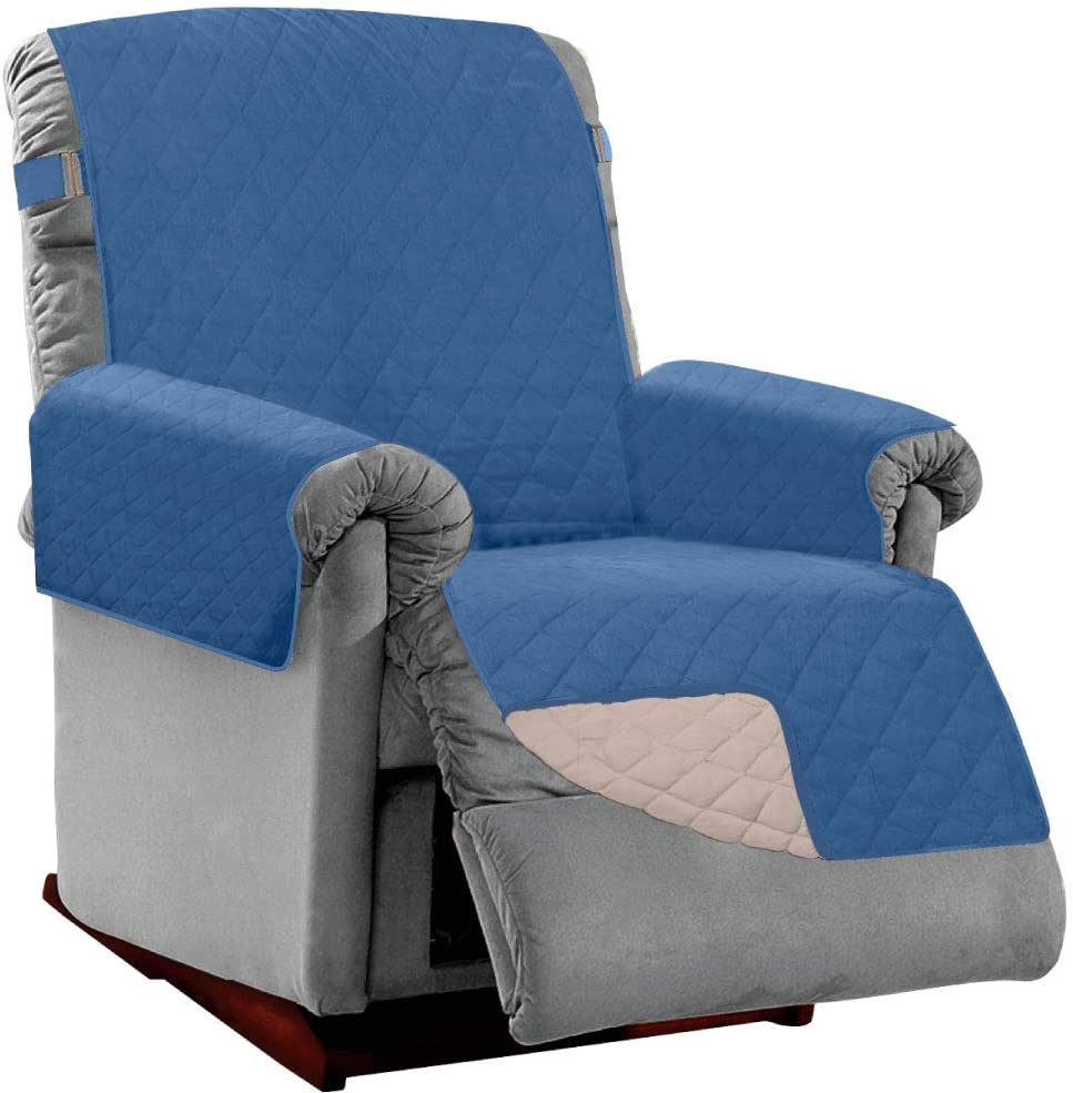 Sofa Shield Original Patent Pending Reversible Small Recliner Protector, Many Colors, Seat Width to 25 Inch, Furniture Slipcover, 2 Inch Strap, Reclining Chair Slip Cover Throw, Denim Lt Taupe