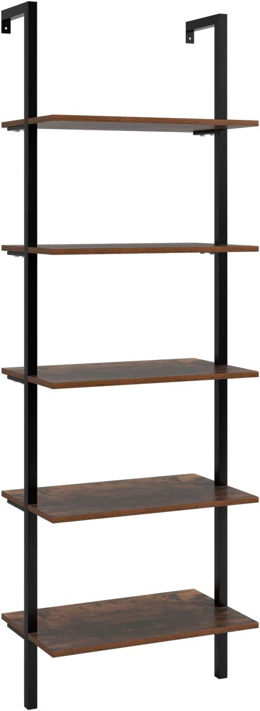Homfa Ladder Shelves Wall Shelf Industrial Bookshelf Storage Rack 5 Tier Shelving Unit Bookcase for Home and Office