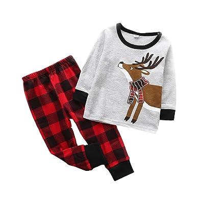 T-shirt à manches longues et pantalons de Noël, Shiningup Deer Santa Clause Elf Cotton Pijers de nuit Ensembles de vêtements pour enfants