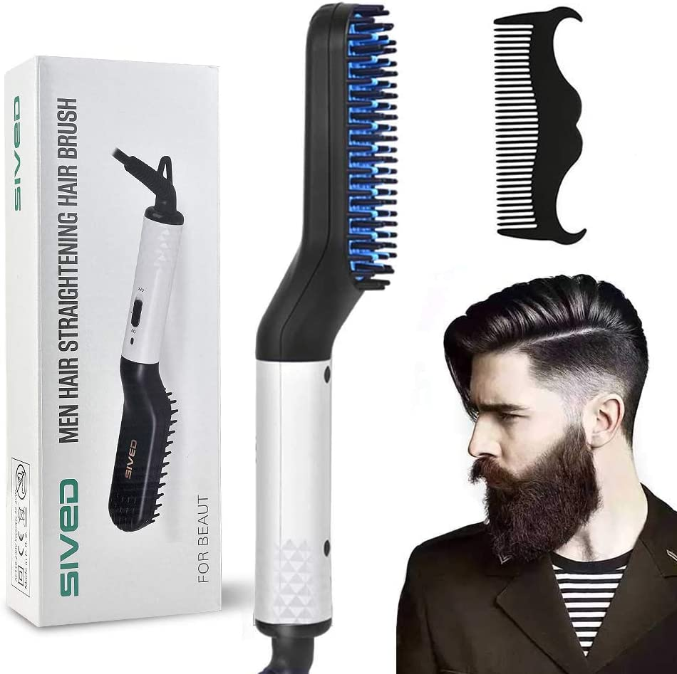 Beard Straightener Comb for men Electric Quick Hair Straightening Brush Multifunctional Hair Curler Comb (UK)