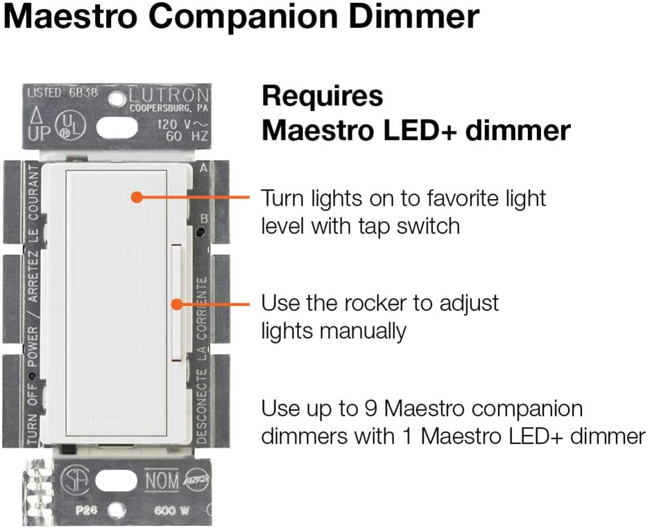 Lutron Maestro Led Dimmer Switch Kit For Dimmable Led Halogen And Incandescent Bulbs Single Pole Or Multi Location Macl 153mrhw Whc White Amazon Ca Electronics