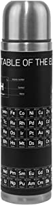 ALAZA Chemistry Periodic Table Double Wall Water Bottle Vacuum Insulated Thermos Flask Genuine Leather Wrapped 17 Oz