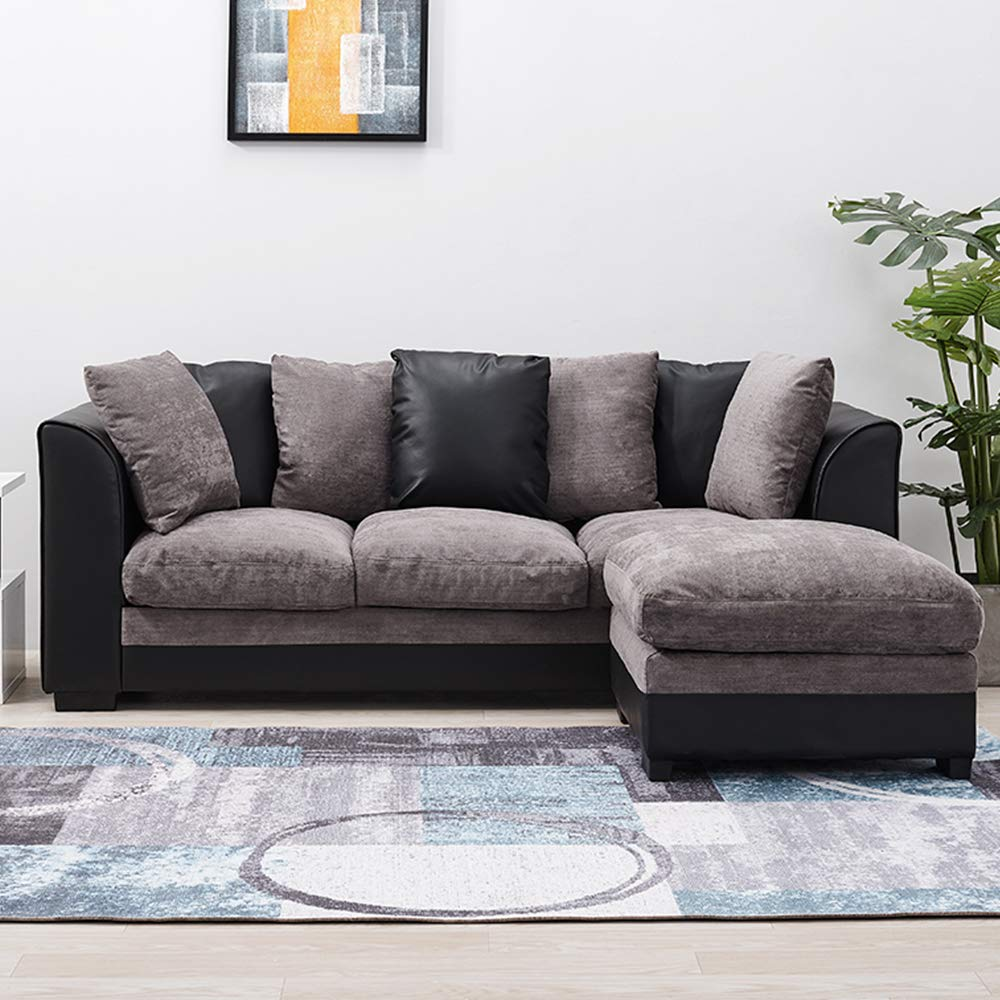 new style 6a4d3 865f0 Wellgarden Faux Leather and Fabric 3 Seater Sofa Corner Group Sofa with  Footstool L Shaped Sofa Settee Left or Right Chaise Couch, Grey and Black  (3 ...