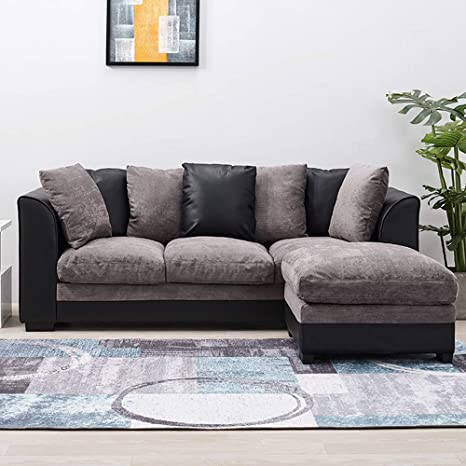 Wellgarden Faux Leather and Fabric 3 Seater Sofa Corner Group Sofa with  Footstool L Shaped Sofa Settee Left or Right Chaise Couch, Grey and Black  (3 ...