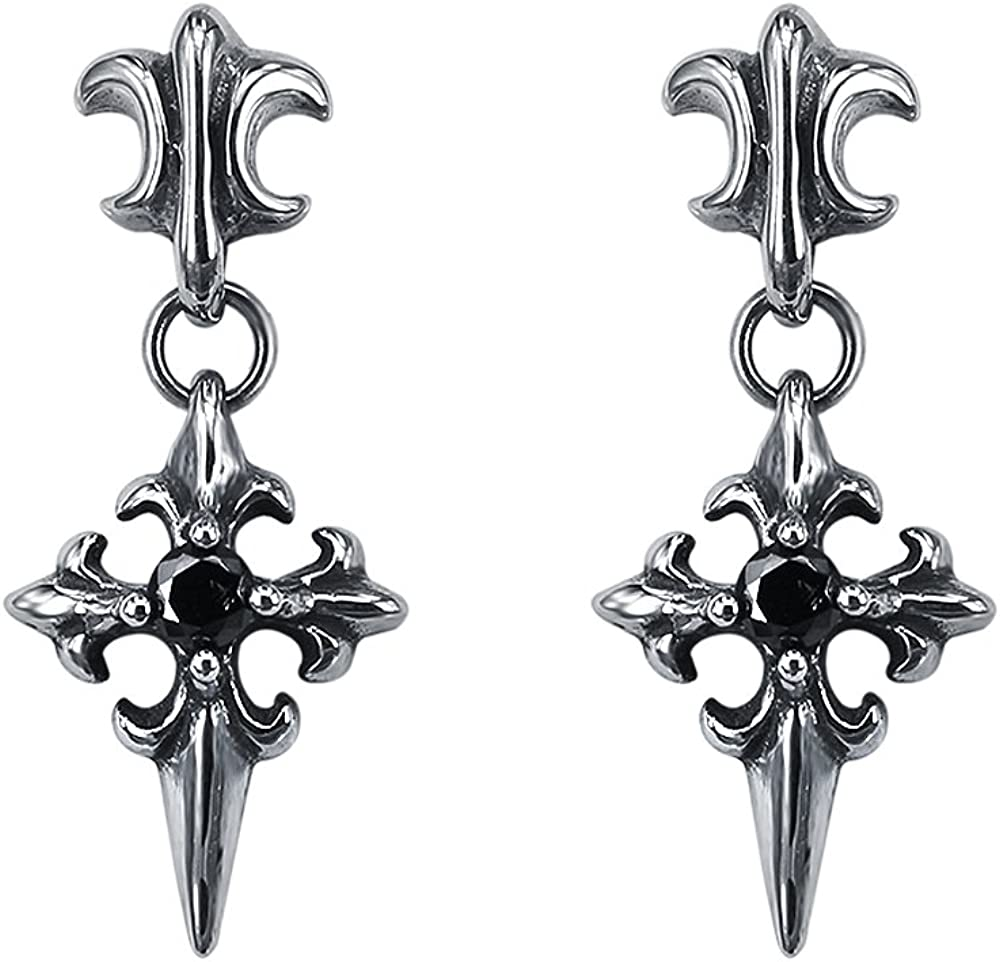 Sword Skull Earrings Stainless Steel Dangle Drop Stud Earring for Men Women Punk Rock Jewelry