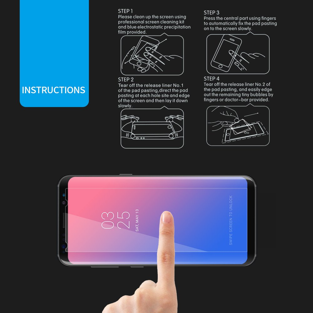 Samsung Galaxy S8 Screen Protector 3 Pack, Rraycom 9H Real Tempered Glass Protector High Transparency. HD Screen and Hight Contrast Coating.