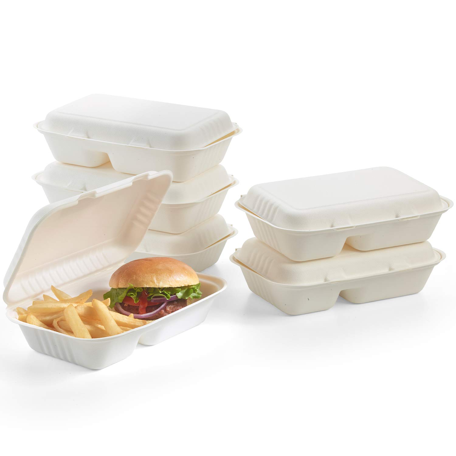 100% Compostable Clamshell To Go Boxes For Food [9X6