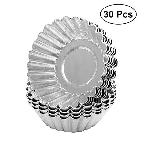 BESTONZON - Molde Antiadherente para Tarta de Huevo (30 Piezas, Aluminio, para Cupcakes