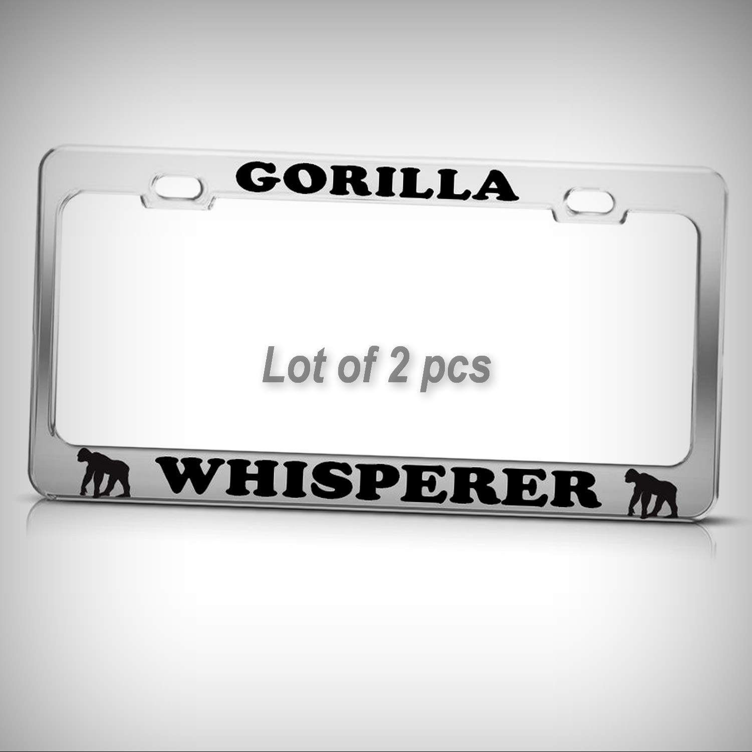 Set of 2 Pcs - Gorilla Whisperer Funny Heavy Duty Tag Holder License Plate Frame Decorative Border Fun Auto Tag