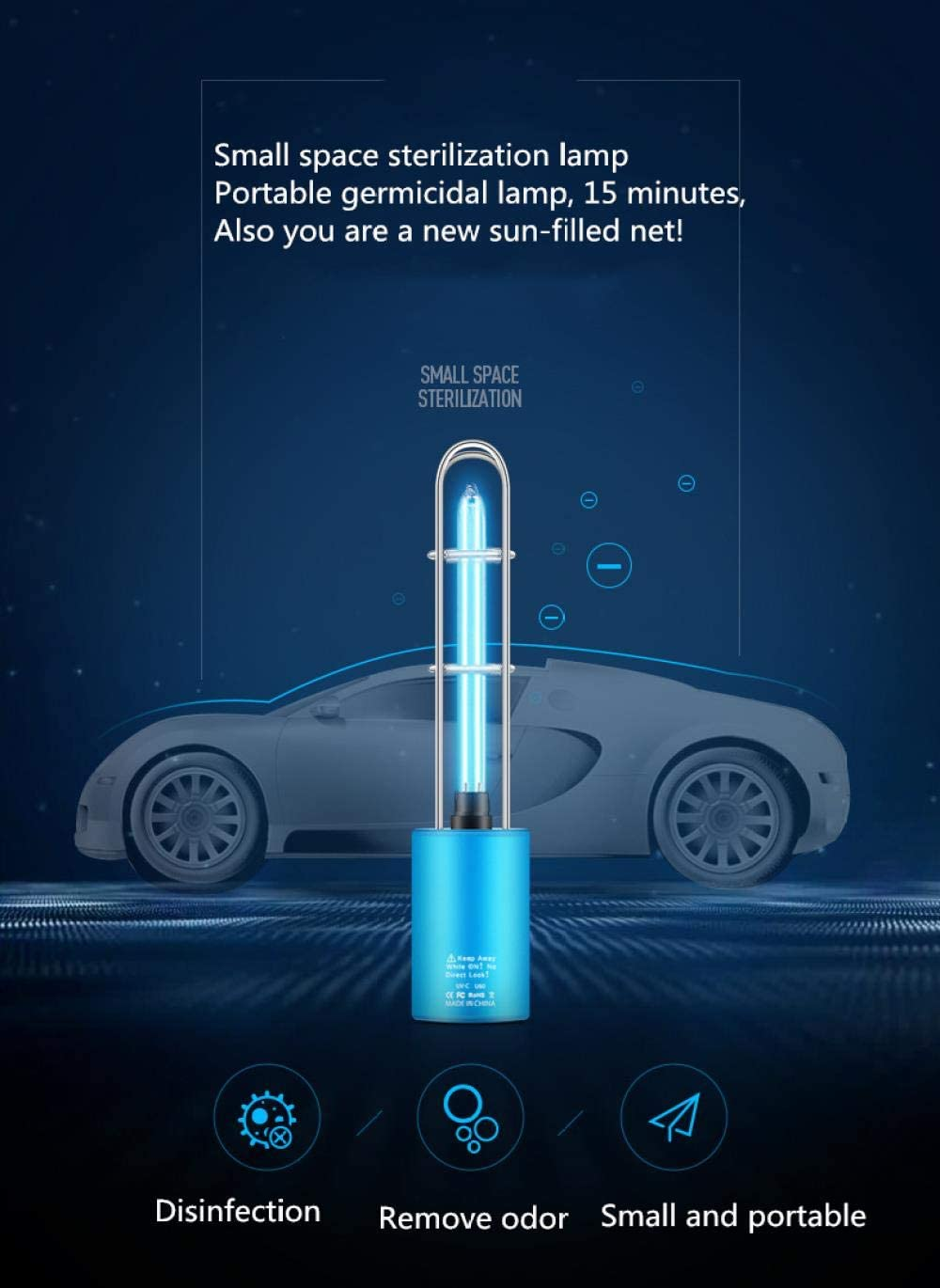 Air Purification Deodorization Built-in Battery Sterilization Blue Household Car Germicidal Lamp Uvc Germicidal Lamp Rechargeable Portable Disinfection Lamp