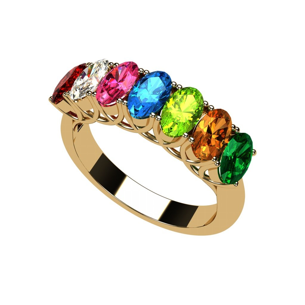 NANA Oval Cut Lucita Style 1 to 7 Simulated Birthstones - Mother's Birthstone Ring- 10k Yellow Gold-Size 7.5 by NANA