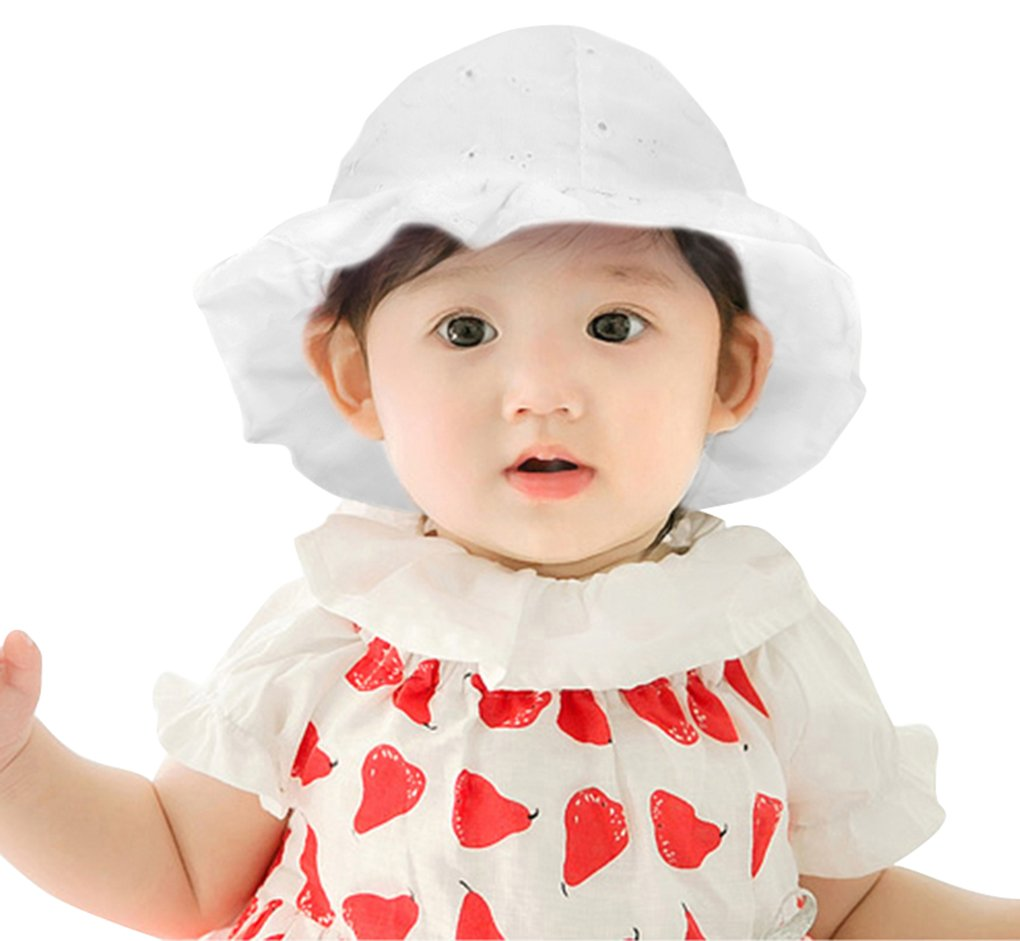 AbbyLexi Girls 50+ UPF Sun Protection Hat Breathable Sun Hats, White, 2-4 Years