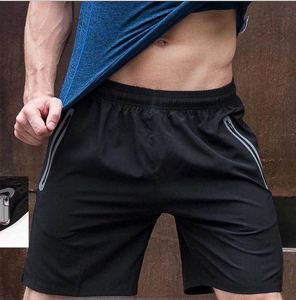 huateng Pantaloncini da Uomo Fitness Abbigliamento da Corsa Tasca con Cerniera Pantaloncini Riflettenti a Righe Pantaloncini Sportivi da Uomo
