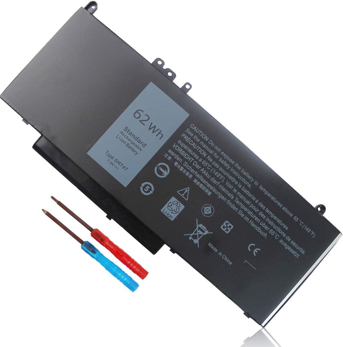 62Wh Type 6MT4T Battery for Dell Latitude E5470 E5570 E5270 Precision 3510 7V69Y TXF9M 79VRK 07V69Y 079VRK 0TXF9M 0HK6DV P62G P62G001 P48F P48F001 P48F002 Replacement 7.6V 4-Cell
