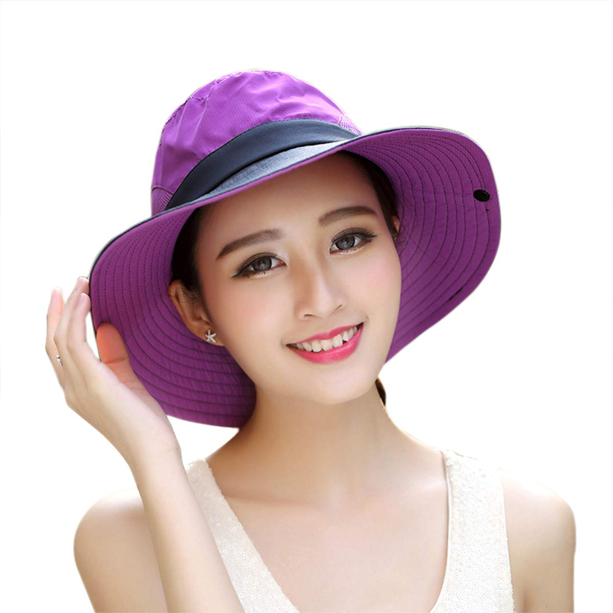 Sun Hat Wide Brim UV Protection Breathable Outdoor Boonie Hats Adjustable Beach Cap Purple 18