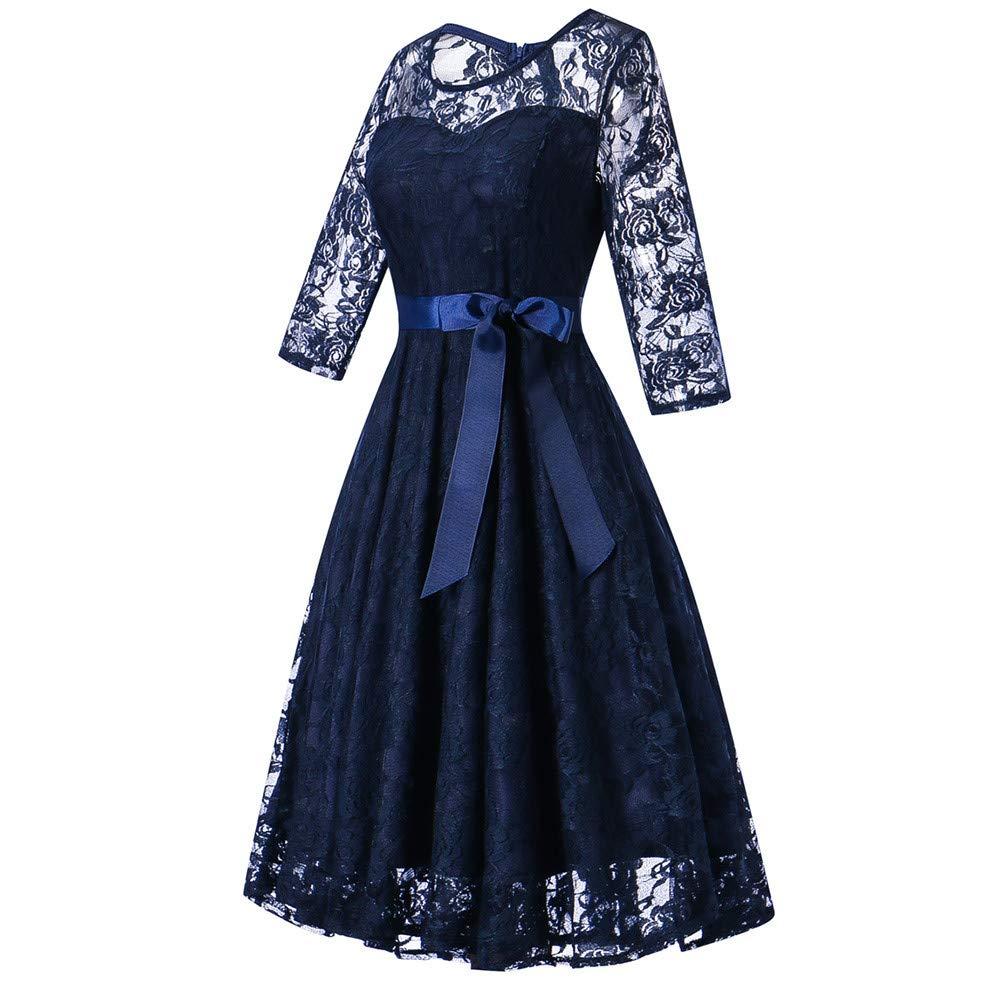 JESPER Womens Long Sleeve Formal Ladies Wedding Bridesmaid Lace Long Dress US 8/10 Blue by JESPER (Image #3)