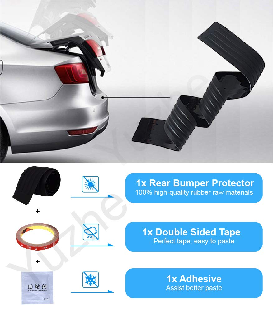 Easy D.I.Y Car Rear Bumper Protector 41 Inch Bumper Guards for SUV//Car Back Bumper Protector Guard Universal Black Rubber Durable Protect and Hide Scratches Installation