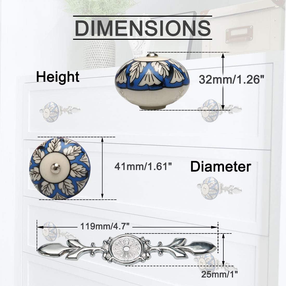 armarios aparadores decoraci/ón armarios Tiradores de cer/ámica vintage con dise/ño de mapa de abastecimiento para muebles #1 6 unidades