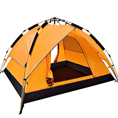 2-Person Tent Automatic pop up Tents for Camping with Carry Bag Outdoors Camping Gear for Hiking and Traveling Family Tent-Orange