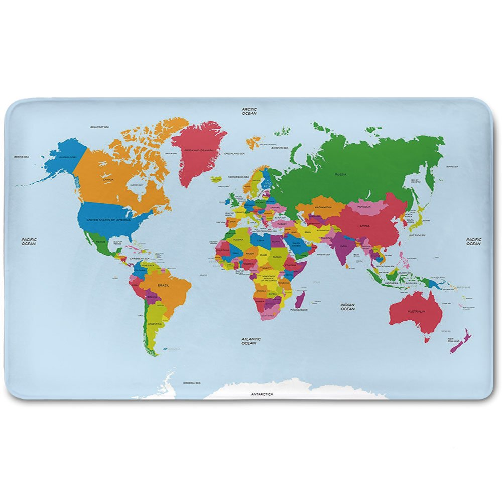 Memory Foam Bath Mat,Map,Classical Colorful Map of World in Political Style Travel Europe America Asia Africa DecorativePlush Wanderlust Bathroom Decor Mat Rug Carpet with Anti-Slip Backing,Multicolo