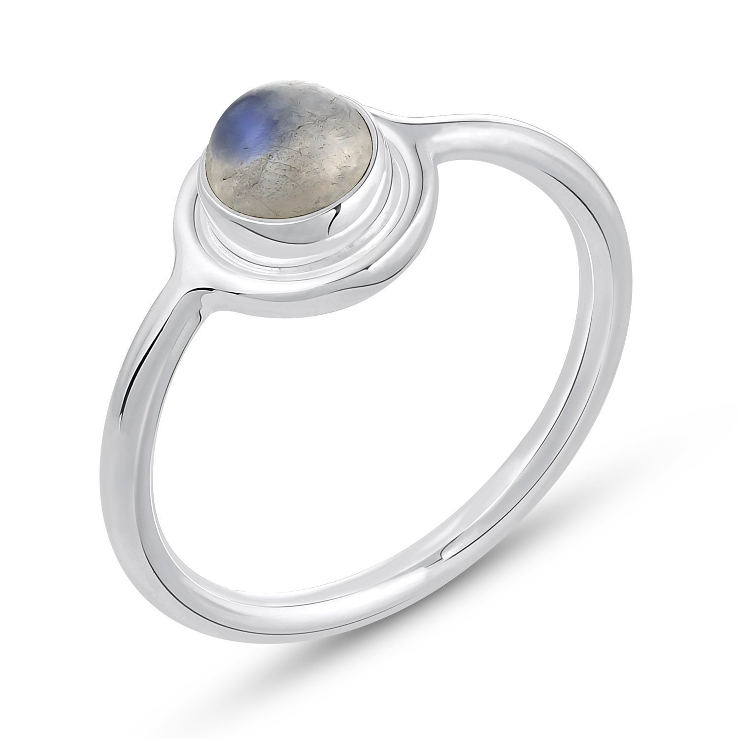 Genuine Gemstone .925 Sterling Silver Rainbow Moonstone Ring