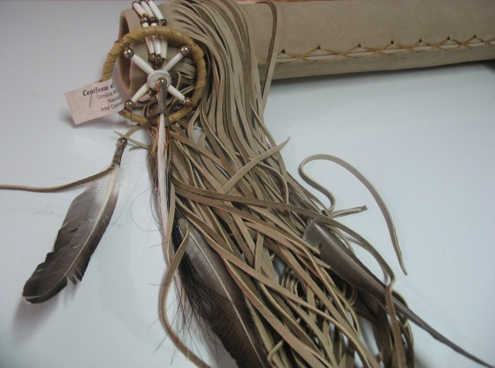 Hand Crafted Quiver with Arrows Native American Decorated with Buffalo Hair Pipes Medicine Bags Fringes by Roger Enterprises (Image #7)