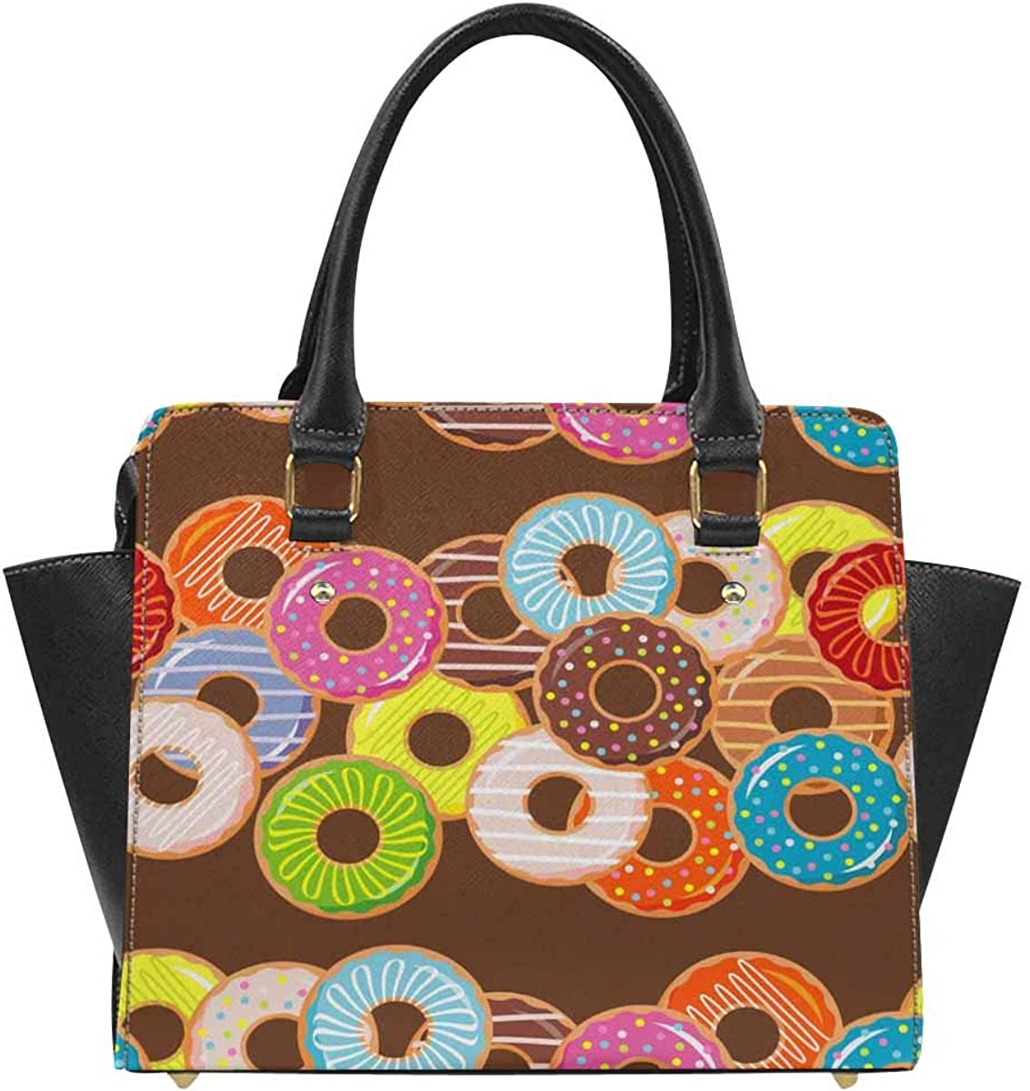 B07RWZLXDJ InterestPrint Colorful Donuts Handbags Tote Bag Shoulder Bag Top Handle Satchel Purse 61BUbhqLVDL
