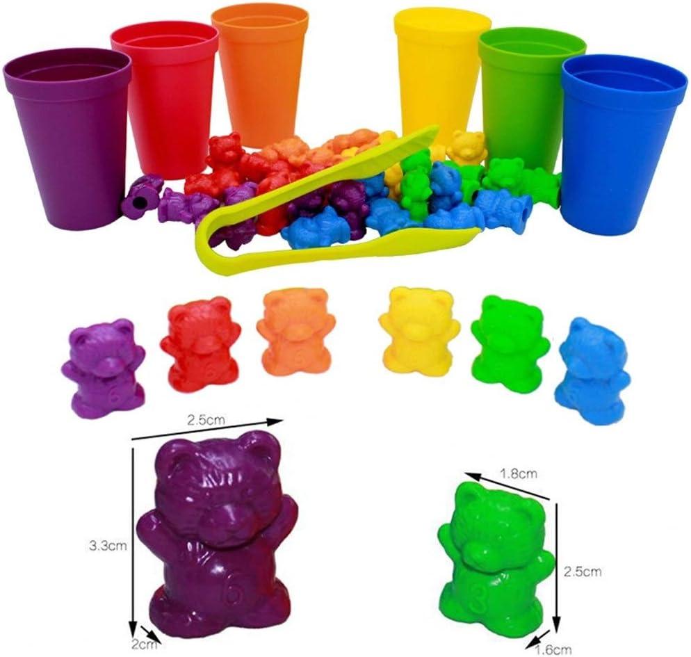 Logo FFC Bambini Montessori Toy 1 Cofanetto conteggio Orso Montessori Formazione Cognition Arcobaleno Matching Game educativi Regali dei Giocattoli (Color : I Set) E Set