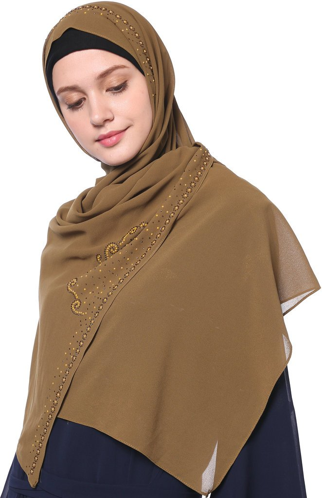 YI HENG MEI Women's Modest Muslim Soft Chiffon Rhinestones Long Hijab Headscarf with Buttons 70×25inch,Tan by YI HENG MEI (Image #3)