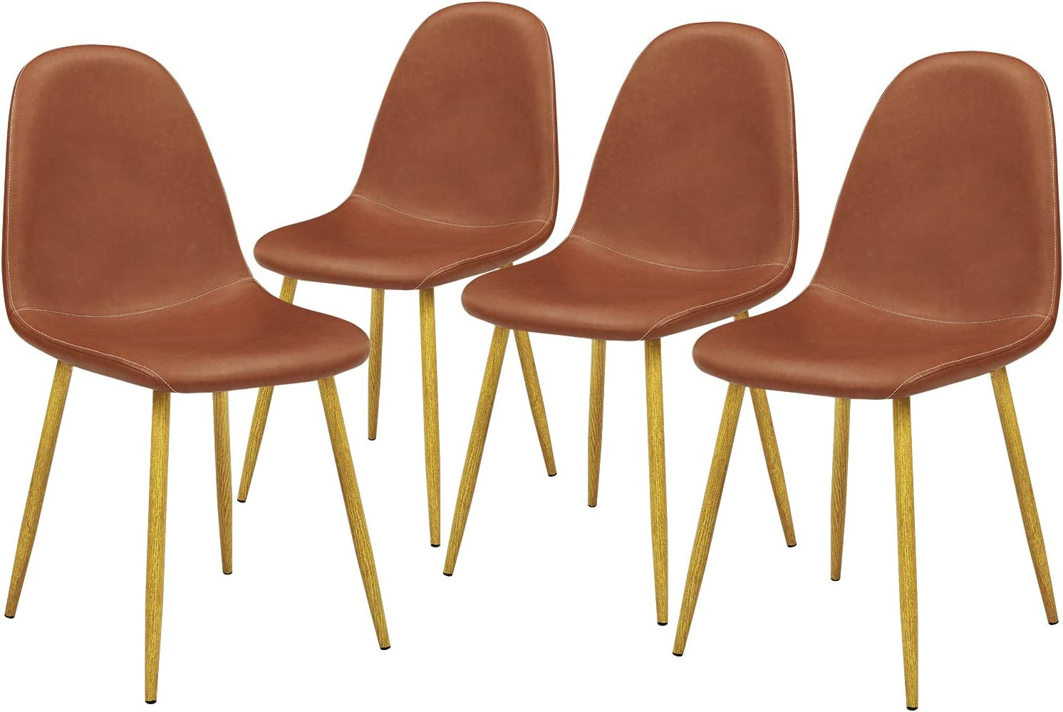 GreenForest Dining Chairs Set of 4, Washable Pu Cushion Seat Chair with Metal Legs for Kitchen Dining Room, Brown - Chairs