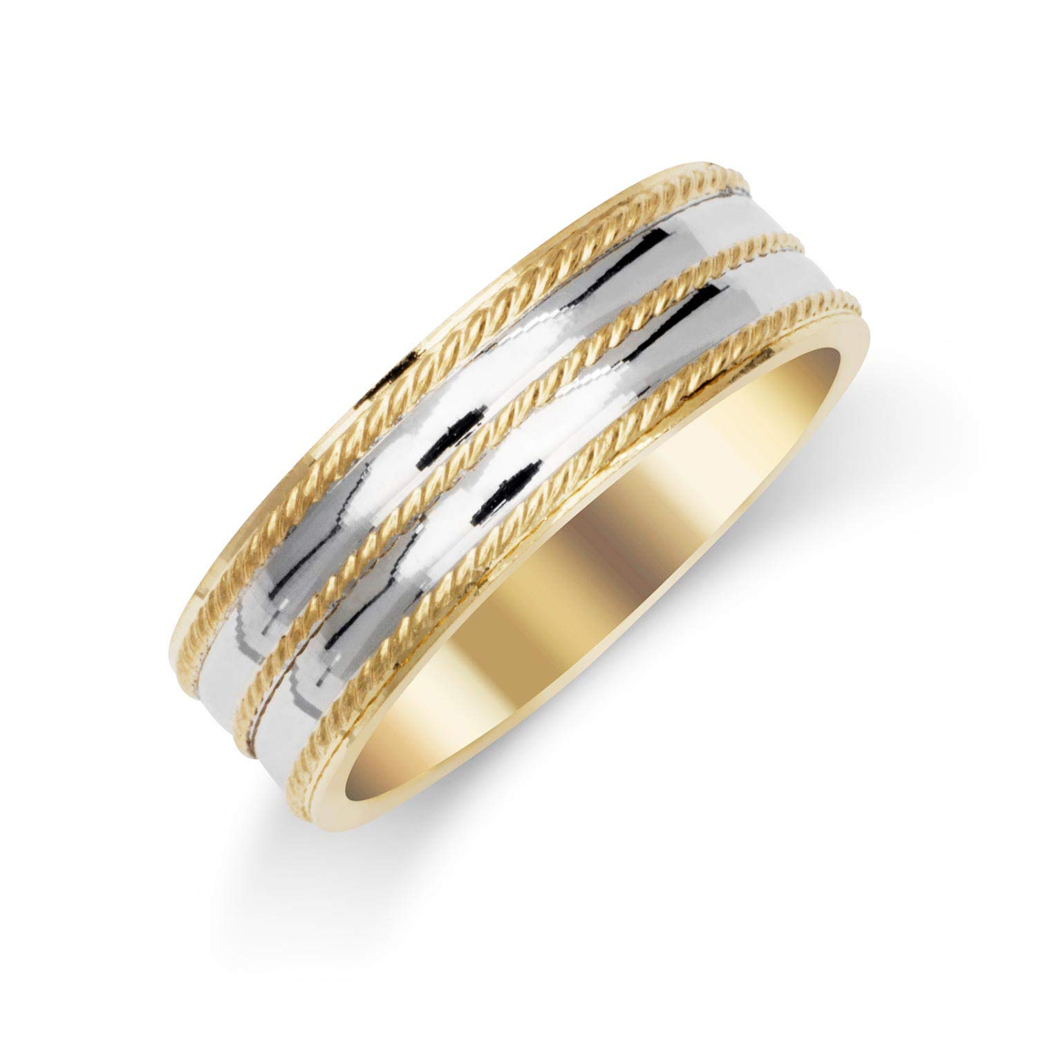 Iptnyc Two Tone Solid 14k Gold 63mm Twisted Polished Finish Mens Wedding Band Ring Diamond Nature Amazon: Twisted Two Tone Wedding Bands At Websimilar.org