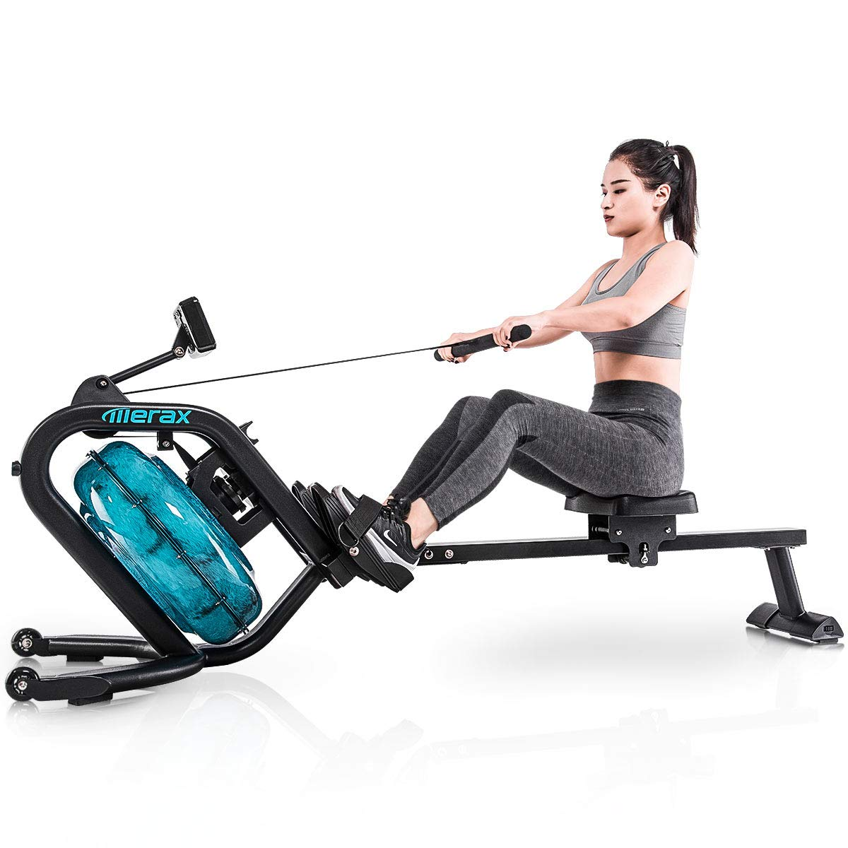 Merax Water Rowing Machine - Fitness Indoor Water Rower with LCD Monitor Home Gym Equipment (Black) by Merax (Image #1)