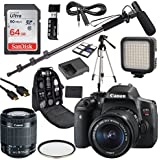 Canon EOS Rebel T6i DSLR Camera Deluxe Video Kit with Canon EF-S 18-55mm STM Lens +Shotgun Microphone Fishing Boom Pole + SanDisk 64GB SD Memory Card + Accessory Bundle