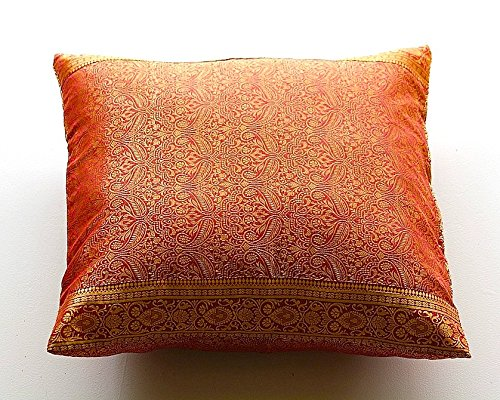 Embroidered Pillow Cover, hand stitched from Original Indian Jazz Sari Fabric with Intricate Embroidered borders. Produced in Rajasthan, India and Imported into the USA. (Red, 24x24