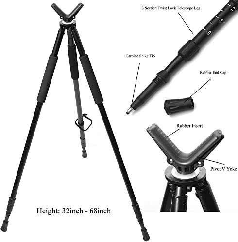 Hammers Telescopic Shooting Tripod w/Pivot V Yoke Max. Height 68""