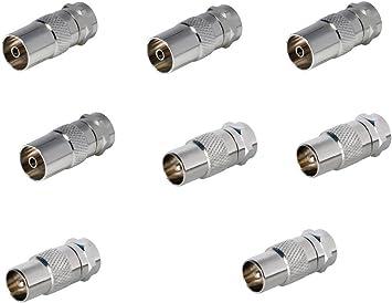 SAT de Fox 8 x SAT adaptador coaxial antena (4 x F a conector IEC Conector de antena, 4 x A Antena hembra), Coax hembra para cable coaxial – Cable de ...