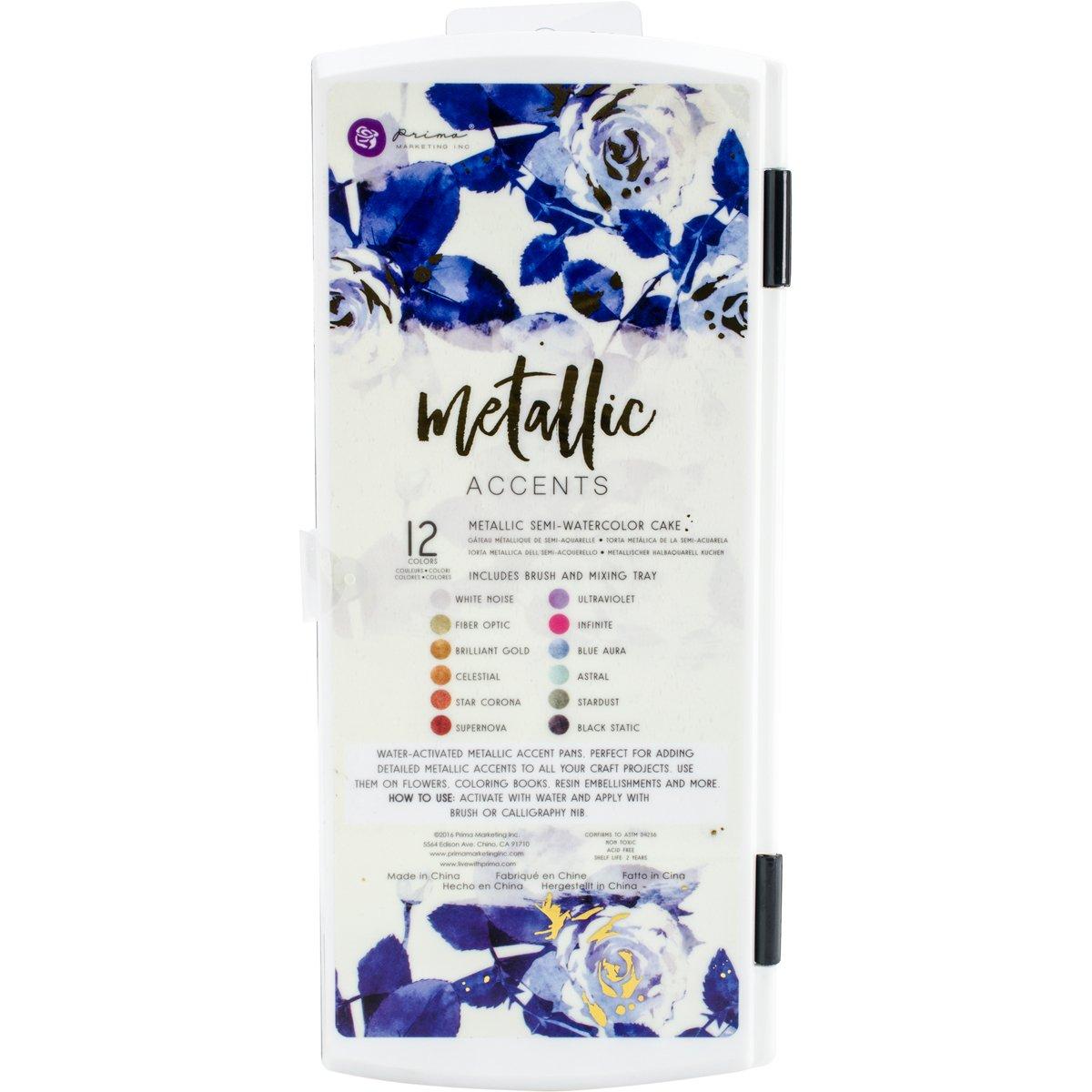 Prima Marketing Metallic Accents Semi Watercolour Paint Set, Multi Colour, 11.17 X 23.87 X 1.95 Cm by Amazon